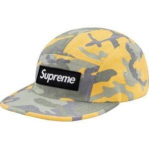 ef7cf9586b1 Supreme Yellow Camo Box Logo Hat